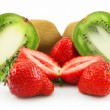 Royalty-Free Stock Photo: Ripe Sliced Kiwi and Strawberries Isolat