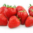 Ripe Strawberries in Basket Isolated on - Stock Photo