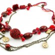 Red Necklace Isolated on White — Stock Photo