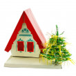 House and Christmas tree — Stock Photo