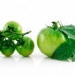 Ripe Wet Green Tomatoes with Leaves Isol — Stock Photo #1297462