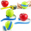 Set of bright apples and measuring tapes — Stock Photo #1297834