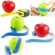 Set of bright apples and measuring tapes — Stock Photo