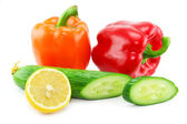 Fresh vegetables fruits (paprika, cucumb — Stock Photo