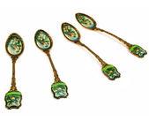 Set of golden spoons — Stock Photo