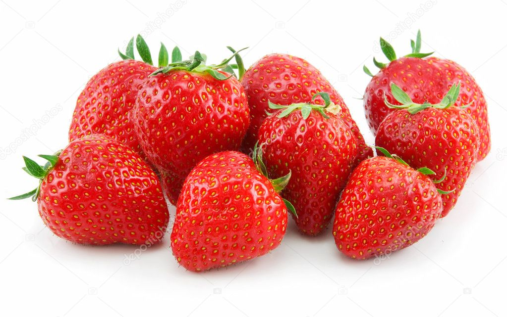Ripe Strawberries in Basket Isolated on White Background — Stock Photo #1290549