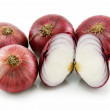 Ripe Sliced Red Onion Isolated on White — Stock Photo