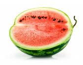 Half of Ripe Sliced Green Watermelon Iso — Stock Photo