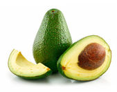 Ripe Sliced Avocado Isolated on White — Stock Photo