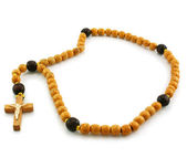 Wooden rosary and cross — Stock Photo