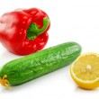 Green cucumber, red paprika and yellow l — Stock Photo