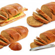 Set of whole wheat breads and tableware — Stock Photo #1317064