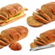 Royalty-Free Stock Photo: Set of whole wheat breads and tableware