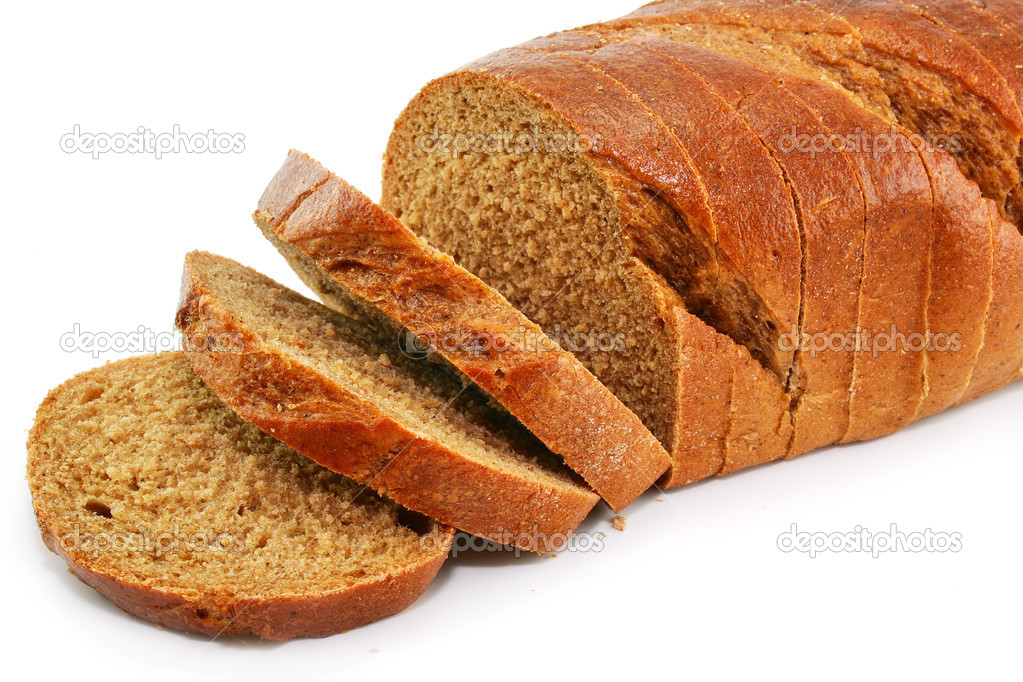 Closeup of whole wheat bread isolated on a white background  Stock Photo #1317042