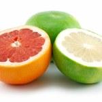 Ripe Sliced Grapefruit Isolated on White — Stock Photo #1327385