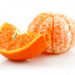 Ripe Sliced Tangerine Fruit Isolated on White — Stock Photo