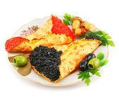 Panquecas com caviar-recheado — Fotografia Stock