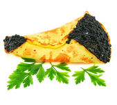 Caviar-stuffed pancake with greens — Stock Photo