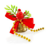 Christmas hand bell with red bow — Stock Photo