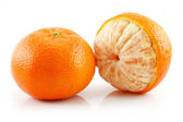 Ripe Sliced Tangerine Fruit Isolated — Stock Photo