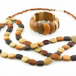 Colored Wooden Necklace and Bracelet Isolated — Stock Photo