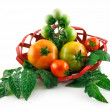 Basket with Ripe Tomatoes (Still Life) Isolated — Stock Photo #1614540