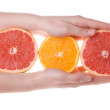 Hands holding sliced orange and grapefruit - Stock Photo