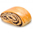 Tasty baked roll with poppyseed isolated — Stock Photo