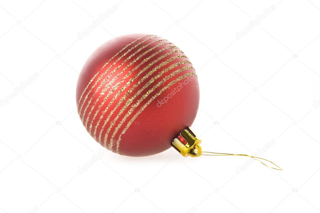 Red Christmas Ball Isolated on White Background — Stock Photo #1790775