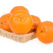 Ripe Tangerine Fruits in Basket Isolated — Stock Photo