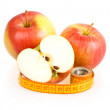 Two Red Sliced Apples and Measuring Tape — Stock Photo
