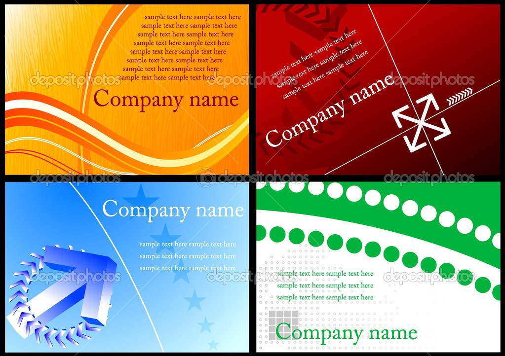 Set of four horizontal colorful business cards — Stock Vector #1538627