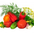 Stock Photo: Juicy vegetables and dill