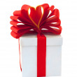 Box packed red ribbon - Stock Photo