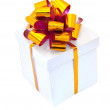 White box with golden bow — Stock Photo