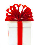 White box packed red bow — Stock Photo
