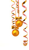 Gold balls with gold tinsel — Stock Photo