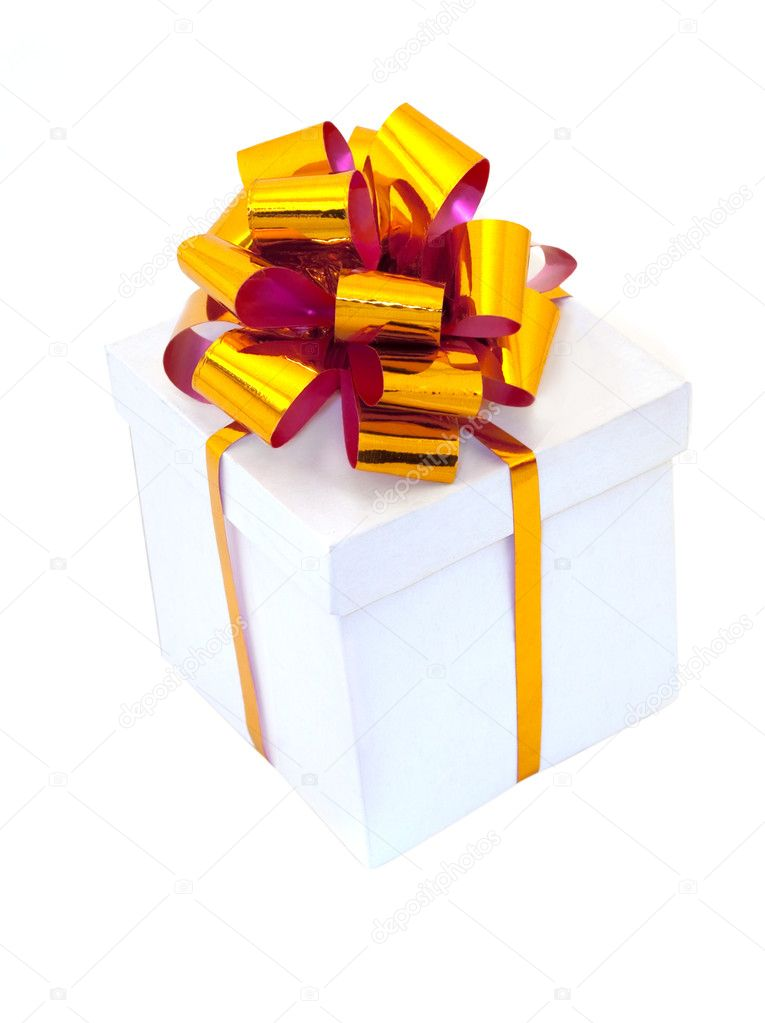 White gift box packed with golden bow — Stock Photo #1527494