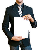 Businessman holding the paper — Stock Photo