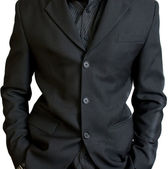 Businessman's black jacket — Stock Photo