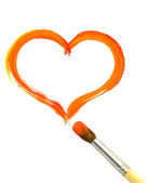 Heart and paintbrush — Stock Photo