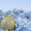Silver blue background gold ball — Stock Photo #1289073
