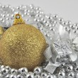 Silver background gold ball 2 — Stock Photo