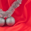 Royalty-Free Stock Photo: Red background silver ball