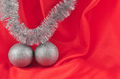 Red background silver ball — Stock Photo
