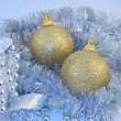 Silver blue background gold ball — Stock Photo #1448108
