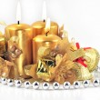White background candles bell — Stock Photo