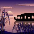 Stock Photo: Boathouse,backwaters and sunrise