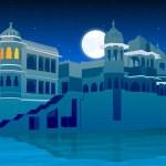 Palace on full moon, lake side — Stock Photo #1411086