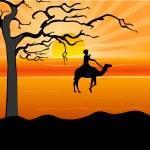 Man on camel, desert — Stock Photo #1411121